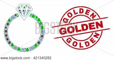 Winter Covid Mosaic Jewelry Ring, And Unclean Golden Red Round Stamp Imitation. Mosaic Jewelry Ring