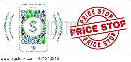 Winter Covid-2019 Collage Financial Smartphone Vibration, And Dirty Price Stop Red Round Stamp Seal.