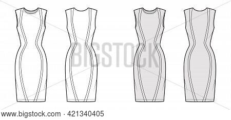 Dress Panel Technical Fashion Illustration With Hourglass Silhouette, Sleeveless, Fitted Body, Knee