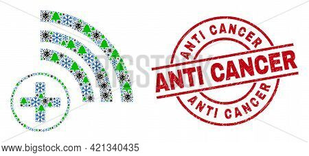 Winter Coronavirus Collage Medical Source, And Distress Anti Cancer Red Round Stamp. Collage Medical