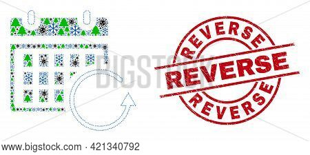 Winter Viral Collage Calendar Rollback, And Unclean Reverse Red Round Seal. Mosaic Calendar Rollback