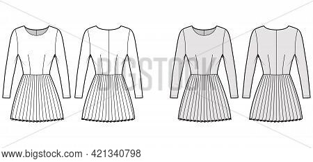 Dress Pleated Technical Fashion Illustration With Long Sleeves, Fitted Body, Mini Length Skirt. Flat