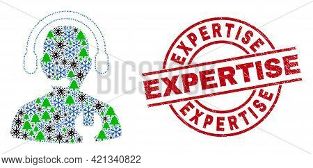 Winter Pandemic Collage Call Center Serviceman, And Textured Expertise Red Round Seal. Collage Call