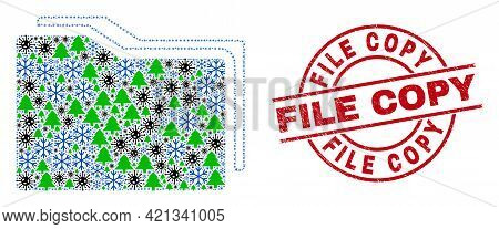 Winter Covid-2019 Mosaic Folders, And Grunge File Copy Red Round Stamp Seal. Collage Folders Is Done