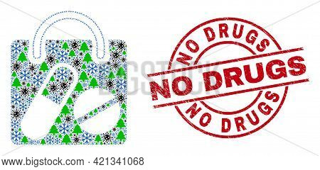 Winter Pandemic Mosaic Drugs Shopping Bag, And No Drugs Red Round Stamp Imitation. Collage Drugs Sho