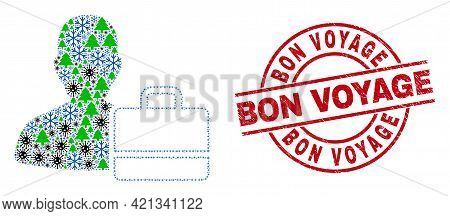Winter Viral Combination User Case, And Distress Bon Voyage Red Round Stamp Seal. Collage User Case