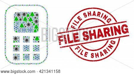 Winter Viral Collage Cellphone, And Textured File Sharing Red Round Stamp Print. Collage Cellphone I