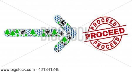 Winter Viral Collage Arrow Right, And Dirty Proceed Red Round Stamp Seal. Collage Arrow Right Is Org