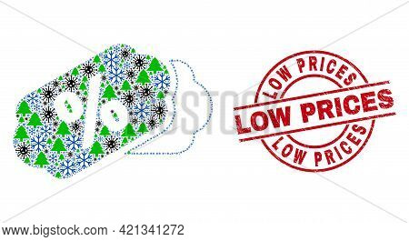 Winter Covid-2019 Collage Percent Tags, And Unclean Low Prices Red Round Stamp Imitation. Collage Pe