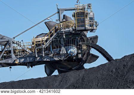 Mackay, Queensland, Australia - May 2021: Monster Machinery Moving Coal At Dalrymple Bay Coal Termin
