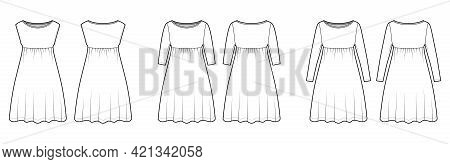 Set Of Dresses Babydoll Technical Fashion Illustration With Long Elbow Sleeves, Oversized Body, Knee