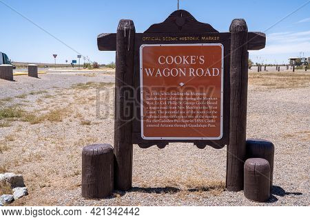 Deming, New Mexico - May 8, 2021: Sign For The Cooke's Wagon Road Historical Marker, Which Sits At A