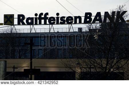 Bucharest, Romania - January 21, 2021: A Logo Of Raiffeisen Bank, Austrian Multinational Banking And