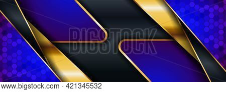 Modern Navy Background With Blue And Golden Element Combination. Graphic Design Element.
