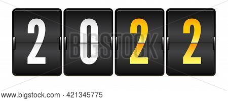 Mechanical Scoreboard With Numbers 2022. Realistic Mechanical Counter Isolated On White Background.