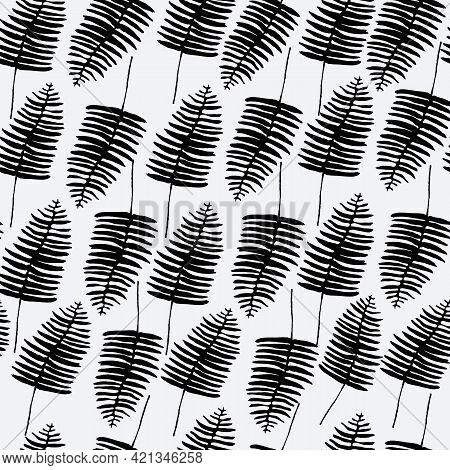 Black Fern Leaf Leaves Seamless Pattern Background Design.