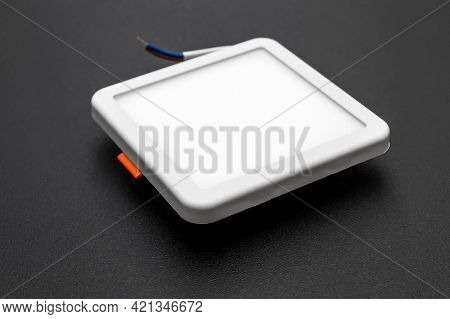Square Led Lamp On A Black Background.