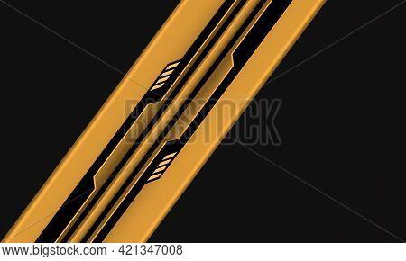Abstract Yellow Black Circuit Cyber Geometric Line Slash On Grey Design Modern Futuristic Technology