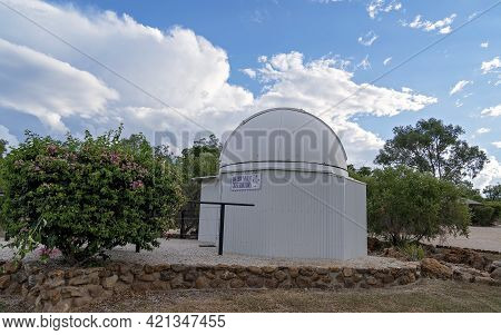Rubyvale, Queensland, Australia - May 2021:  Round Domed Observatory For Tourists To See The Outback