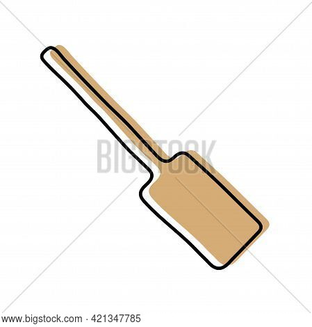 Wooden Spatula. Kitchenware Sketch. Doodle Line Vector Kitchen Utensil And Tool. Cutlery Illustratio