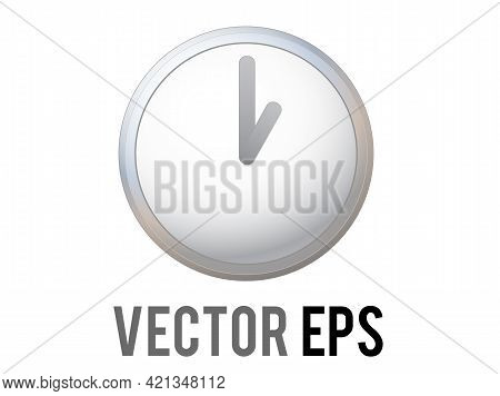 The Vector Shinny Silver Time Clock Icon With Gray Hour, Minute Hands And White Front Face