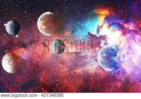 Science Fiction Fantasy In High Resolution Ideal For Wallpaper. High Quality Space Background. Eleme