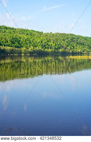 Morning On The River, Beautiful Sunrise Over The Blue Oka River And The Reflection Of Green Hills Wi