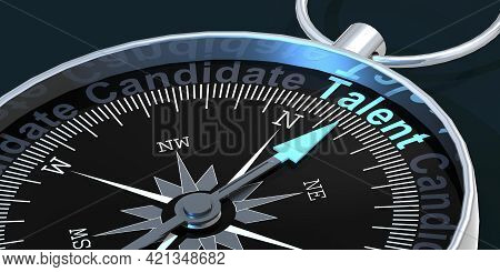 Compass Needle Pointing To Word Talent, 3d Rendering