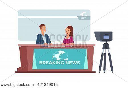 Breaking News. Broadcasting Of Tv Information Program. Cartoon Television Presenters Recording Inter