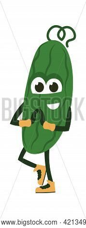 Cartoon Cucumber Doing Exercises. Vegetable Standing In Yoga Asana. Funny Healthy Food Character Tra