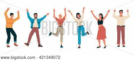 Cheerful People. Group Of Happy Friends Standing Together With Raised Hands. Cartoon Men And Women F
