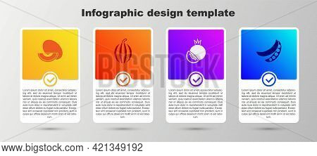 Set Melon Fruit, Watermelon, Tomato And Green Peas. Business Infographic Template. Vector