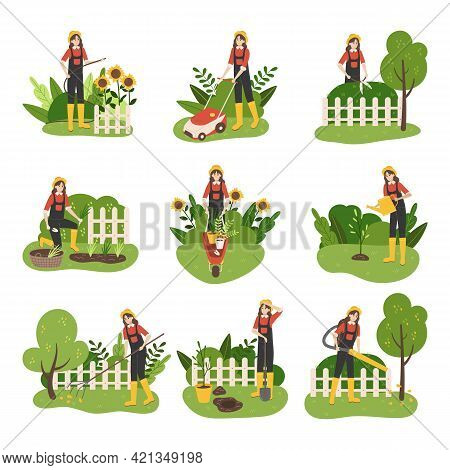 Gardener. Cartoon Woman Mows Lawn. Character Cuts Green Trees Or Bushes. Gardener Planting And Water