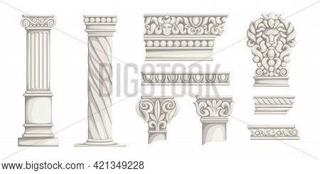 Greek Columns. Ancient Roman Architecture Decorative Elements. Antiqua Corinthian Pillars Or Wall Or