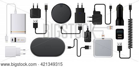 Charge Smartphone. Realistic Wireless Charger. 3d Energy Battery Refuels. Plug Socket With Usb Cords
