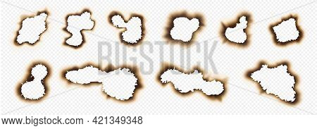 Burnout Holes. Realistic Paper Pages With Burn Edges And Brown Corners. Fire-damaged Sheets Effects