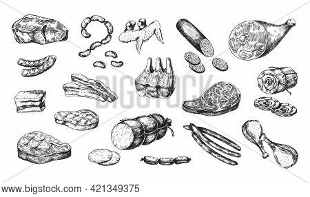 Hand Drawn Meat Products. Parts Of Pork And Beef, Pieces With Bones Or Fillets. Smoked Chicken. Saus
