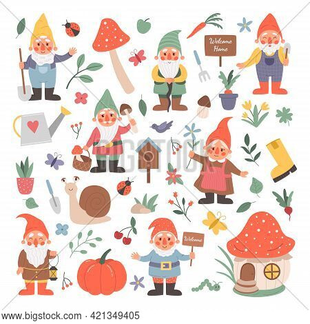 Garden Gnomes. Cartoon Fairy Tale Creatures With Flowers And Mushrooms. Isolated Fictional Character