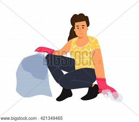 Recycling Garbage. Cartoon Woman Puts Bottles In Trash Bag. Female Character Collects Rubbish In Par