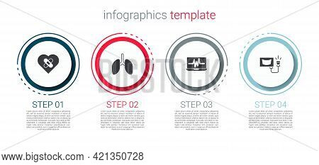 Set Healed Broken Heart, Lungs, Laptop With Cardiogram And Ultrasound. Business Infographic Template