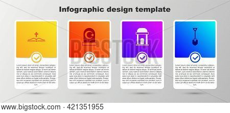 Set Holy Bible Book, Muslim Cemetery, Old Crypt And Shovel. Business Infographic Template. Vector