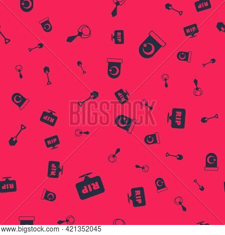 Set Speech Bubble Rip Death, Tie, Shovel And Muslim Cemetery On Seamless Pattern. Vector