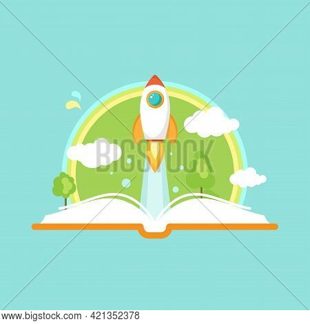 Open Book With Rocket Ship, Clouds And Rainbow. Isolated On Blue. Vector Flat Illustration. Reading