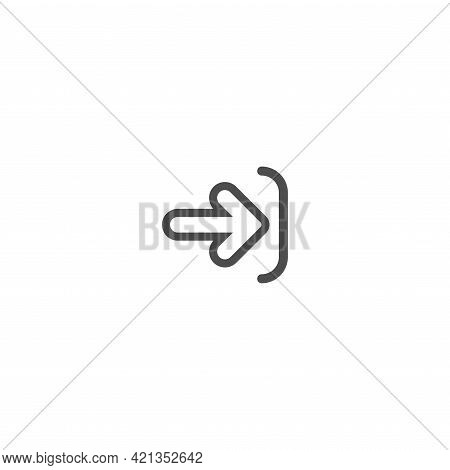 Enter Or Log In Icon. Isolated On White. Black Line Right Rounded Arrow With Bracket. Sign In Icon.