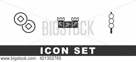Set Chinese Yuan Currency, Great Wall Of China And Meatballs On Wooden Stick Icon. Vector