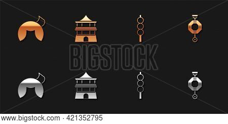 Set Chinese Fortune Cookie, House, Meatballs On Wooden Stick And Paper Lantern Icon. Vector