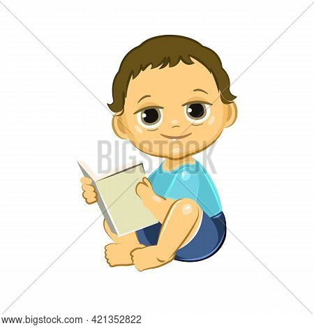Little Child. Boy. Sits Reading A Book. Isolated Object On A White Background. Cheerful Kind Funny.