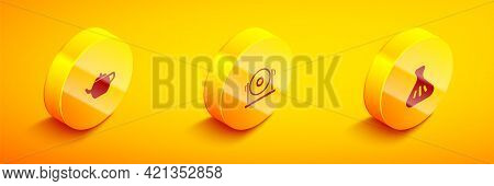 Set Isometric Chinese Tea Ceremony, Gong And Dumpling Icon. Vector