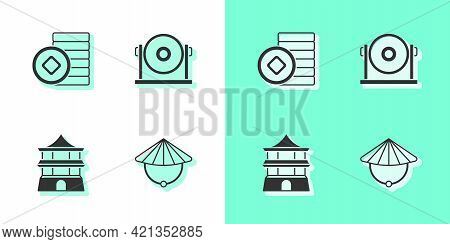 Set Chinese Conical Straw Hat, Yuan Currency, House And Gong Icon. Vector