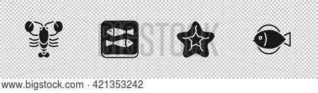 Set Lobster, Canned Fish, Starfish And Fish Icon. Vector